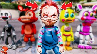 CHUCKY BECOMES A FNAF ANIMATRONIC! (GTA 5 Mods For Kids RedHatter)