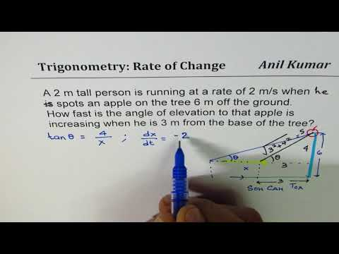 Find rate of change of the angle of elevation from person running speed as he approaches tree