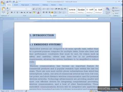 Preparing Document for Project Report in MS word