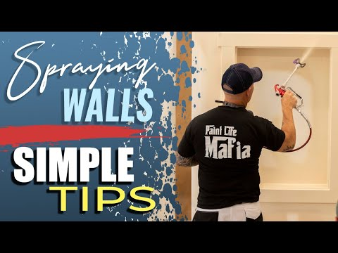 Spraying interior walls with and airless sprayer.  Paint Sprayer Tips.