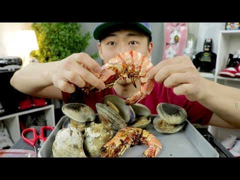 GIANT SHRIMP 🍤 🦐 , CONCH & CLAM GRILL MUKBBANG