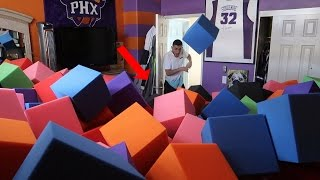 INSANE FOAM PIT IN ROOM SCARE PRANK!! (COMPLETELY FULL)