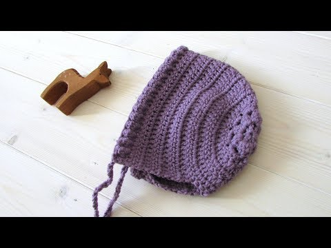 How to crochet a puff stitch flower baby bonnet / hat