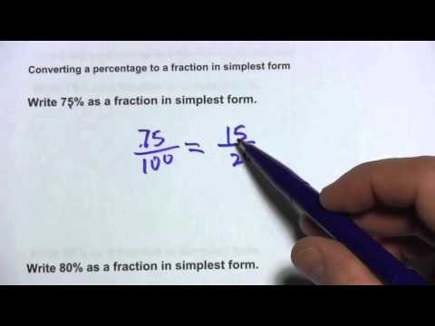 Converting a Percentage to a Fraction in Simplest Form