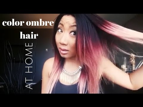 color ombre hair AT HOME