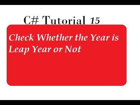 Leap Year Program in C#