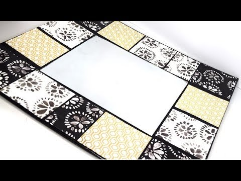 {DIY} DOLLAR TREE TILE WALL MIRROR | $1.00 MIRROR TRANSFORMATION USING PAPER AND CARDBOARD