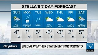 Freezing rain in store for GTA on Monday