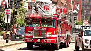 Boston Fire Dept Engine 10 and Tower Ladder 3 Responding Sirens and Air Horns