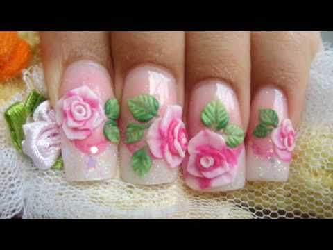 How to make pink 3D acrylic roses cute glitter nails kawaii