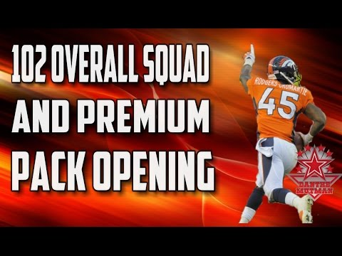 Madden Mobile: Premium Pack Opening + 102 OVERALL SQUAD!!