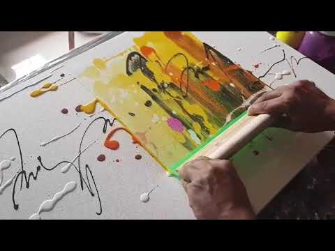 Abstract painting / Just using rubber Squeegee / Acrylics / Demonstration