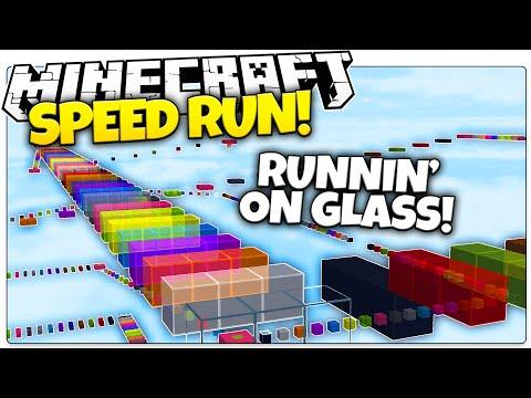 Minecraft   RAINBOW GLASS SPEED RUN PARKOUR! (Minecraft Speed Runner Parkour Map)