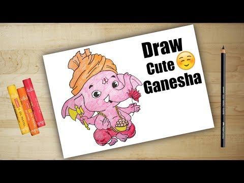 Drawing cute Ganesha- ganesh ji | sankashti chaturthi | drawing for kids -  lord ganesha drawing