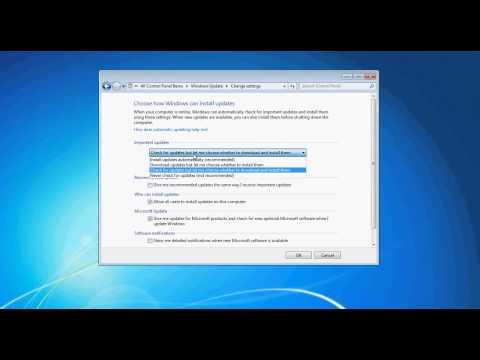 Window 7: Change Windows Update Settings, stop Windows from auto restarting