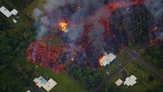 Aerial footage shows volcanic lava destroying homes in Hawaii