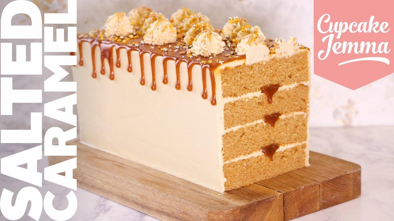 EPIC Salted Caramel Rectangular Loaf Cake!   Recipe & How To   Cupcake Jemma