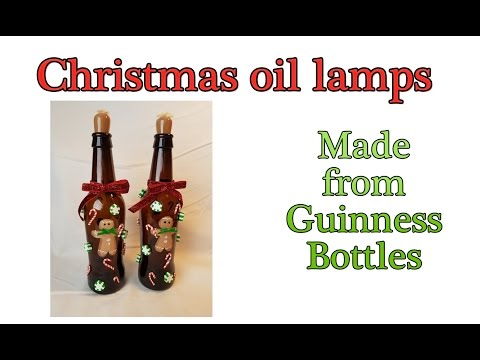 Christmas oil lamps from Guinness bottles