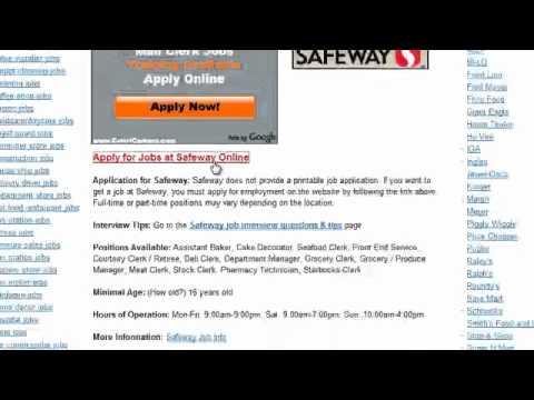 Safeway Job Application