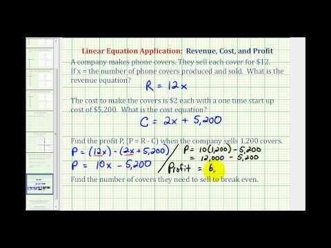 Ex:  Linear Equation Application (Write a Profit Equation)