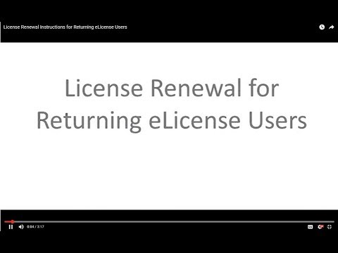 License Renewal Instructions for Returning eLicense Users