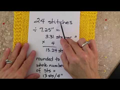 Measuring stitches and rows in knitting for gauge.