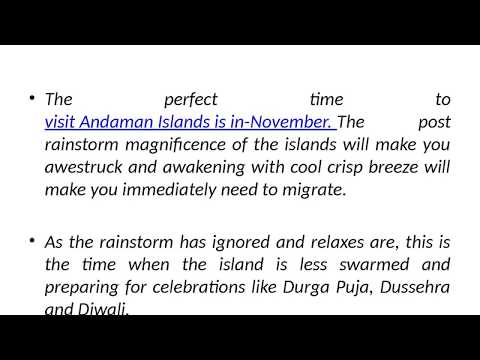 How will be the weather in Andaman in November
