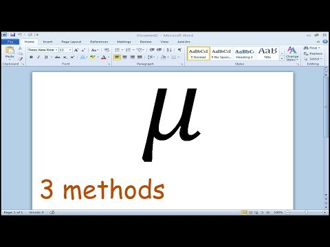 How to type Mu Symbol in Word