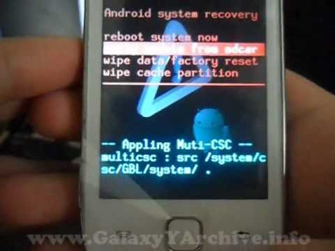 Installing ClockWorkMod Recovery on Samsung Galaxy Y