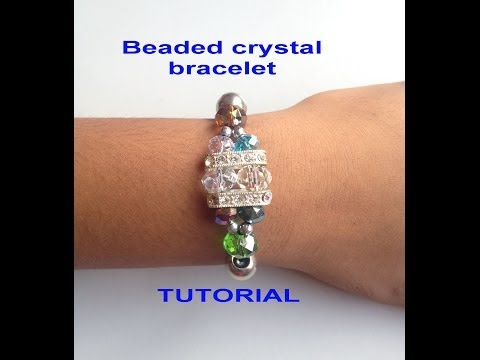 DIY -How to make a Crystal Beaded stretch cord  Bracelet TUTORIAL