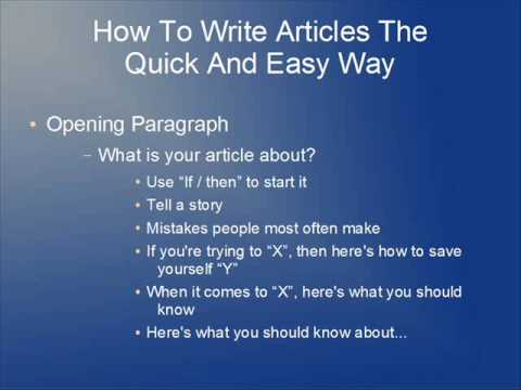 How To Write Articles The Quick And Easy Way