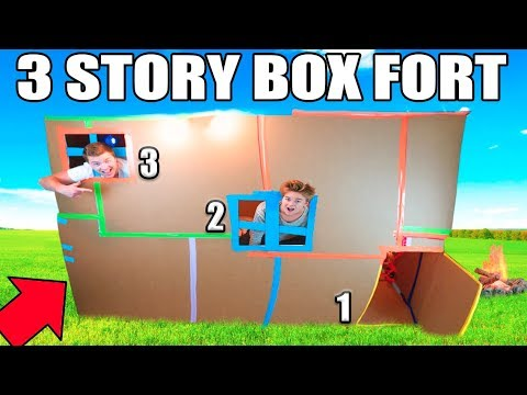3 STORY BOX FORT MANSION!! 24 Hour Challenge: TV, Gaming Room, Kitchen & More!