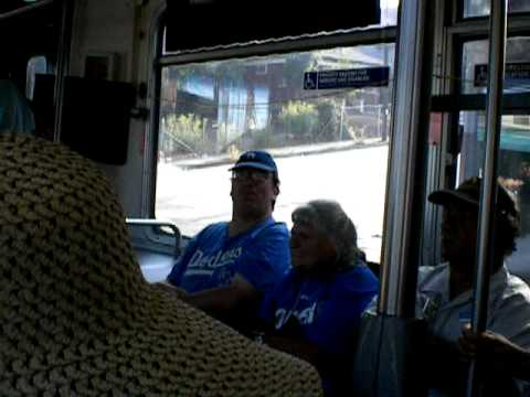 I & other Dodger fans start chanting and having fun on a Bus