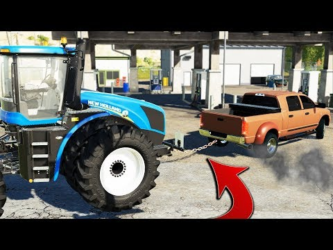 Download FS19- TOWING 4WD TRACTOR INTO GAS STATION (RAN OUT OF FUEL