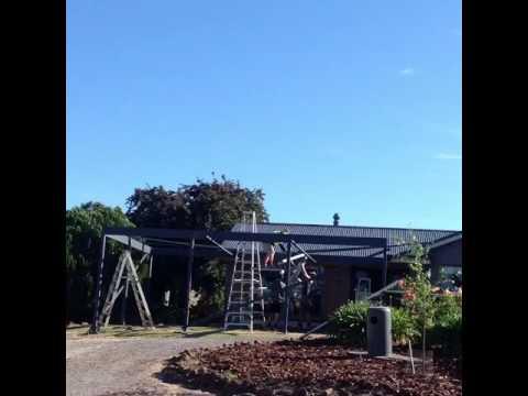 Gable roof pergola with hardwood deck