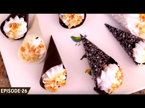 Learn how to make cute & delicious chocolate cones filled with eggless sponge, truffle and cream