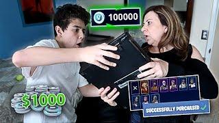 Kid Buys $1,000 Worth of V-Bucks on FORTNITE with Mom