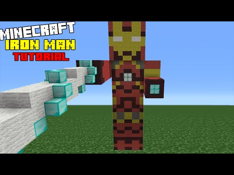 Minecraft Tutorial: How To Make An Iron Man Statue (Captain America: Civil War)