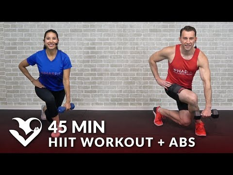 45 Minute HIIT Home Workout with Dumbbells + Abs - Full Body 45 Min HIIT Workout with Weights