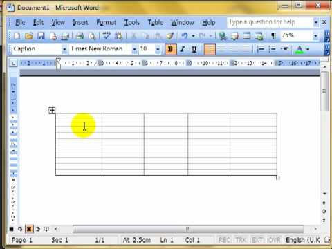 Word 341 Create tables and select cells columns and rows Microsoft Word ECDL ITQ2