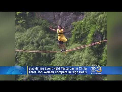 Slacklining In High Heels Event Held In China