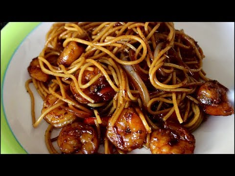 cooking with chav:  STIR FRY SPAGHETTI with prawns (easy recipe)