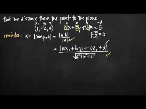 Distance between a point and a plane (vectors) (KristaKingMath)