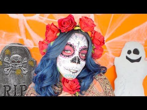 Easy Sugar Skull   Day of The Dead   Dia de Los Muertos   Makeup Tutorial
