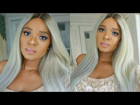 DIDN'T 🙆THINK I WOULD NAIL IT! EASY SILVER GRAY LACE FRONT WIG TRANSFORMATION FT. YOLISSA HAIR