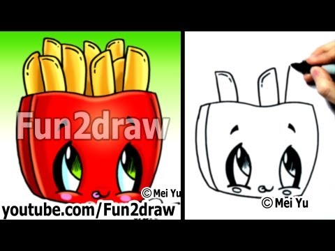 Kawaii Tutorial - How to Draw Kawaii Food - Fries (Cute Easy Drawing) - Cute Art - Fun2draw