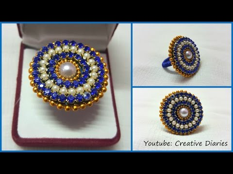 DIY Paper Ring: How to make designer party wear ring with paper at home I Creative Diaries