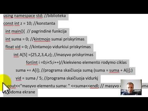 C++ pamoka. Veiksmai su Masyvu (suma, vidurkis, max, min, rikiuoti)