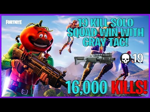 19 KILL SOLO SQUAD WIN WITH A GRAY TAC! ( FORTNITE BATTLE ROYALE )