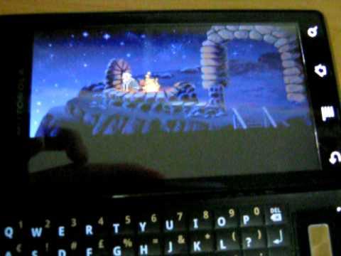 Monkey Island running in ScummVM on Motorola Milestone